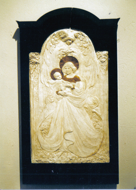 The Madonna Della Rosa by Frances Darlington,  lost until 2003 when it was found in the crypt of St. Wilfrid's Church, Harrogate. First exhibited Leeds 1907.