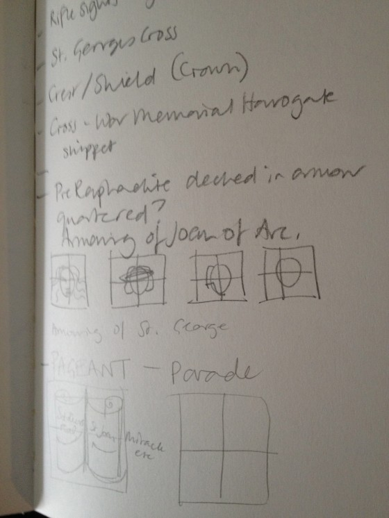 "Initial notes on response through ""quarterings"", to St. Georges War Memorial."